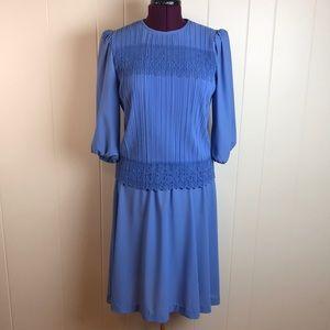Vintage 70s/80s Periwinkle Blue Secretary Dress